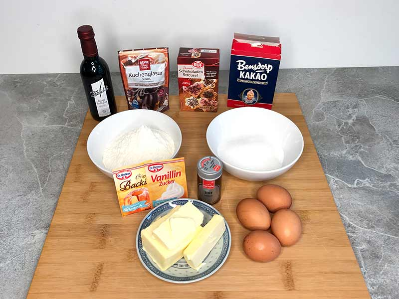 Zutaten Schoko-Rotweinkuchen